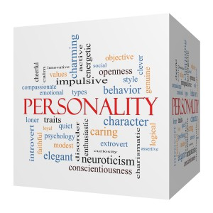 Personality 3D cube Word Cloud Concept with great terms such as cheerful, character, behavior and more.