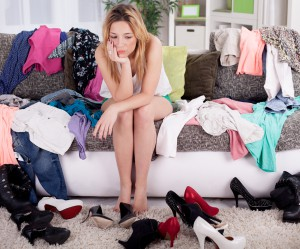 depressed young girl does not know what to wear