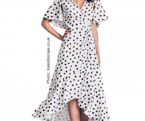 White with black dots short sleeve long dress