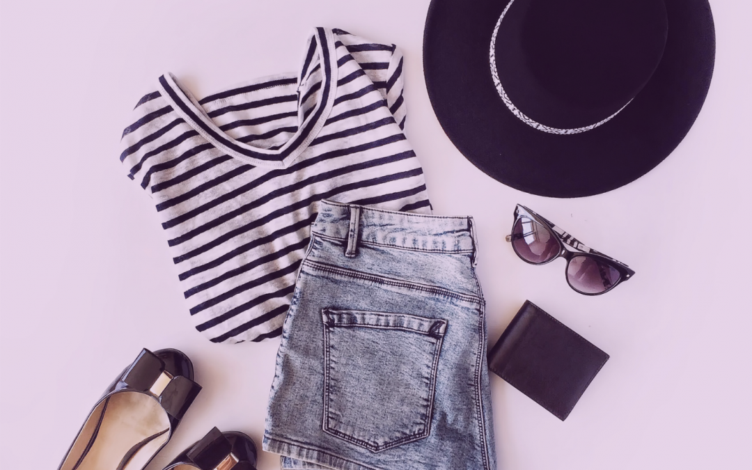 Striped T Shirt, Jeans, Hat and Shoes