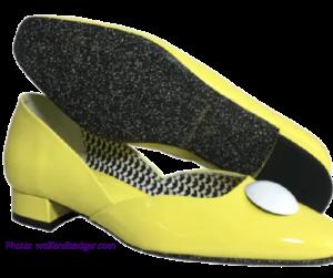 Yellow patent flat shoes