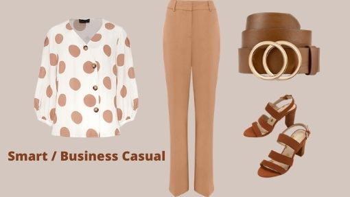 Smart Casual outfit. White blouse with camel dots, camel trousers tan sandals and belt