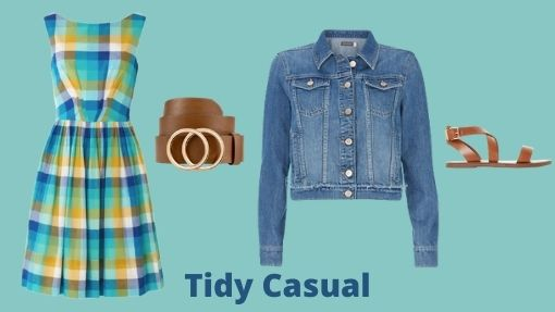 Tidy Casual outfit of summer checked dress, belt, denim jacket and tan sandals