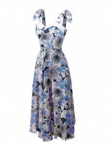 Blue and grey floral halterneck in cool tones