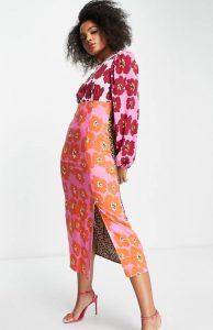 large retro floral print split midi dress