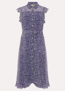 Small scale pattern on blue dress
