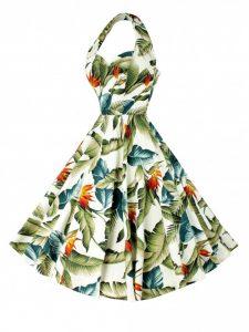 warm tone cream orange and green 50's style halterneck dress