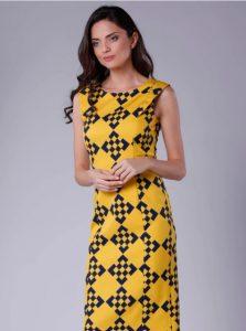 Yellow and black geometric patterned dress