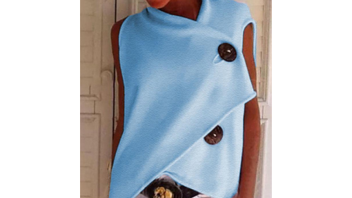 Pale Blue top with large buttons showing proportion and scale